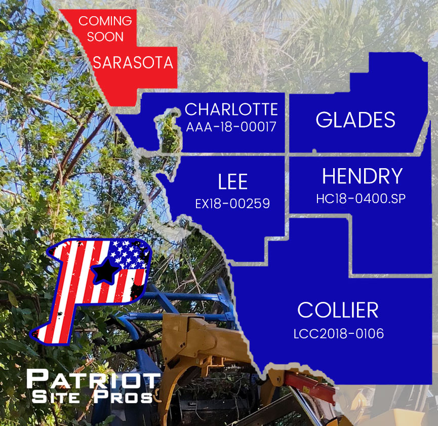 Patriot Site Pros offers land clearing and mulching services in Charlotte, Glades, Lee, Hendy, and Collier Counties | | Patriot Site Pros Commercial Land Clearing & Mulching